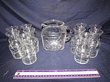 VINTAGE CLEAR GLASS PITCHER AND VASES