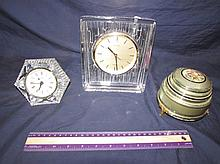 VINTAGE FACE POWDER MUSIC BOX & CRYSTAL CLOCKS (3)