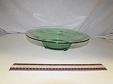GREEN DEPRESSION GLASS FOOTED BOWL