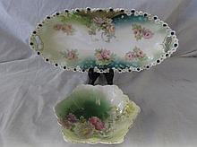HANDPAINTED SERVING DISH AND CANDY DISH (2)