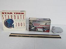 RARE ST GARAGE OPENER & CALANDER & TOY TALKING BURGER KING TOY 2009, STAR TREK COMMUNICATOR GARAGE DOOR OPENER 1998 IN ORIGINAL BOX, & 2003 STAR TREK STARDATE CALENDER