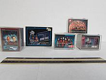 STAR TREK CARDS STAR TREK PLAYING CARDS IN TIN CAN & 4 PLASTIC CASES FILLED WITH STAR TREK CARDS IN MINT CONDITION