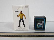 STAR TREK ORNAMENT & SNOW GLOBE BOTH ARE IN UNOPENED ORIGINAL PACKAGING, STAR TREK JAMES T. KIRK HALLMARK ORNAMENT 2010 & MINI STAR TREK SNOW GLOBE