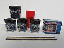 STAR TREK CUPS (6) STAR TREK THE NEXT GENRATION COLLECTORS MUG NEW IN BOX 1994, & STAR TREK RED TUMBLER, & 4 PLASTIC CUPS, SOME HAVE CRACKS
