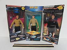 STAR TREK COLLECTOR SERIES FIGURES (3) ALL ARE IN ORIGINAL PACKAGING, MR. SPOCK, CAPTAIN JAMES T. KIRK, CAPTAIN JEAN-LUC PICARD