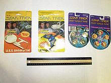 STAR TREK MARBLES & DIE CAST MODELS (4) NEW IN UNOPENED ORIGINAL PACKAGING, STAR TREK DIE-CAST METAL U.S.S. ENTERPRISE & KLINGON 1979 (2), & STAR TREK DEEP SPACE NINE ACTION MARBLES 1992 (2)