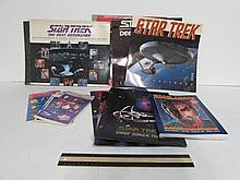 STAR TREK MOVIE/TV CARDS STICKERS & CALENDERS STAR TREK THE UNDISCOVERED COUNTRY MOVIE CARDS, THE NEXT GENERATION 5TH ANNIVERSARY TV CARDS, STAR TREK CALENDERS 92, 93, 94, 98, & (3) STAR TREK FOLDERS, STAR TREK STICKERS