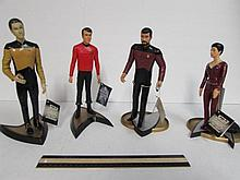 STAR TREK FIGURES (4) ALL FOUR COME ON STANDS, 1993 COMMANDER WILLIAM RIKER, 1992 LT. COMMANDER DATA, 1992 COUNSELOR DEANNA TROI (HAIR ON FIGURE NEEDS REPAIR), & 1991 MONTGOMERY SCOTT