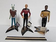 STAR TREK FIGURES (3) ALL COME ON A STAND, 1993 LT. COMMANDER GEORGI LA FORGE, 1991 ANDORIANS, & 1992 CAPTAIN JEAN-LUC PICARD FIGURES
