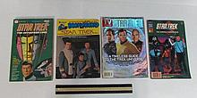 STAR TREK MAGAZINES & BOOKS (4) STAR TREK TV GUIDE, STAR TREK THE CRIER IN EMPTINESS BOOK/RECORD, STAR TREK THE MODALA IMPERATIVE, & STAR TREK THE ENTERPRISE LOGS
