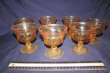 AMBER DEPRESSION GLASS DESSERT BOWLS (7)
