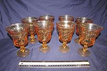 AMBER DEPRESSION GLASS STEM WARE (8)
