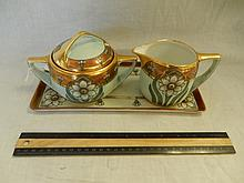 PORCELAIN ART DECO CREAM & SUGAR SET