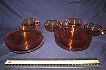 VINTAGE AMBER DEPRESSION GLASS DISHES