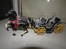VINTAGE IRON HORSE AND CARRIAGE TOY