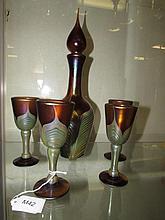 CORREIA  HAND BLOWN ART GLASS DECANTER SET (5)