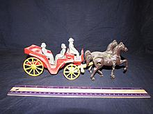 VINTAGE IRON HORSE & CARRIGE TOY