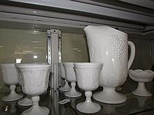 MILK GLASS PITCHER & GLASS SET (11)