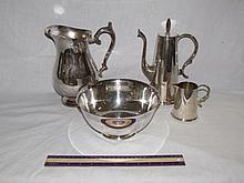 SILVER PLATE SERVING PIECES  (4)