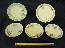 HAND PAINTED PLATES (5) TWO 8