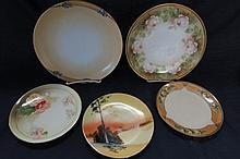 ASSORTED HANDPAINTED PLATES (5) BAVARIA, GERMANY, JAPAN, ALL ARE IN GOOD CONDITION, ONE HAS SMALL CHIP ON RIM