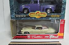 COLLECTIBLE MODEL CARS (2) ORIGINAL PACKAGINGAMERICAN MUSCLE 1956 FORD STREET ROD CADILLAC 1973 ELDORADO