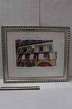 FRAMED PRINT BY MAUREEN LOVE EUROPEAN SCENE 22 1/2 x 19 INCHES