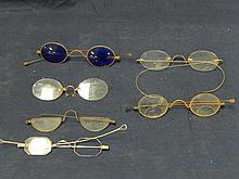 6 VINTAGE EYE GLASS FRAMES SOME WITH WIRES AND ONE WITH BLUE GLASS
