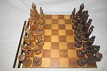 WOOD CHESS SET WOOD CARVED PIECES GOOD CONDITION