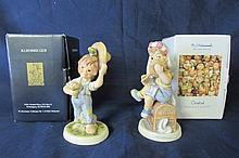 TWO 5 1/2 IN HUMMEL FIGURINES GIRL FIGURINE (MOMS BRIDAL VEIL)BOY FIGURINE UNKNOWN TITLE