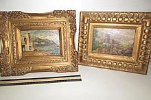 PAIR FRAMED PRINTS EUROPEAN SCENE12 INCHES WIDE AND OTHER11 1/2 INCH WIDE