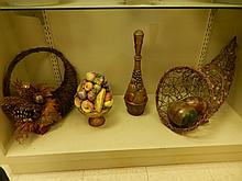 4 HOME DECORATIVE ITEMS ONE HANGING BASKET, ONE 16 INCH LONG CORNUCOPIA, ITALIAN CERAMIC CENTER PIECE, & A TALL DECANTER