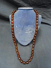 AMBER COLOR BEADED NECKLACE 18 INCHES LONG
