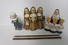 VINATAGE MUSIC BOXES & FIGURINE NUN FIGURINES, 2 CERAMIC, ONE PLASTIC