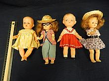 4 VINTAGE DOLLS 2 SOFT RUBBER DOLLS, 2 HARD PLASTIC DOLLS, ONE IS A CAMBELL SOUP DOLL, 8 INCH DOLLS