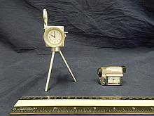 2 NOVELTY MINITURE CLOCKS BOTH ARE CAMERA SHAPED QUARTS CLOCK