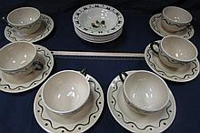 POPPYTRAIL BY METLOX DISHWARE 17 PIECES, 5 BERRY BOWLS, 6 EACH CUPS AND SAUCERS,