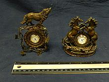 2 NOVELTY DESK CLOCKS BRONZE LIKE WILD LIFE DESK CLOCKS.