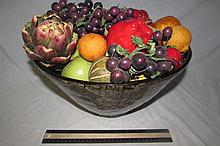 LARGE PLASTIC FRUIT BOWL HAS COMPOSITION FRUIT INSIDETHE FRUIT BOWL IS 8 INCHES TALL