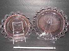 PINK DEPRESSION GLASS SERVING DISHES RETICULATED RIM PLATE & BOWL, PLATE IS 10 1/2