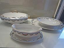 CZECHOSLOVAKIAN SERVING PIECES MEPOCO PATTERN, UNION T, GRAVEY BOAT , LIDDED BOWL 12