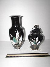 MODERN BLACK PORCELAIN JAR AND VASE MATCHING FLORAL DESIGN, JAR IS 8