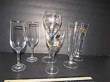 GOLD GILT TRIM STEMWARE (6) VARIOUS SIZE CLEAR GLASS WITH GOLD GILT TRIM WINE STEMS,