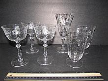 CUT & ETCHED CRYSTAL BARWARE (6) 4 WINE GLASSES & 2 WATER GOBLETS, ALL HAVE SAME PATTERN, ALL ARE IN GOOD CONDITION