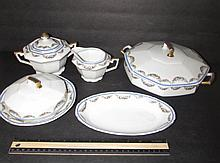 CZECHOSLOVAKIAN FINE CHINA (5) MEPOCO PATTERN, UNION T, LIDDED SERVING BOWL, CREAM AND SUGAR, SMALL OVAL BOWL, & LIDDED BUTTER DISH, IN GOOD CONDITION, GOLD GILT TRIM SHOWS WEAR