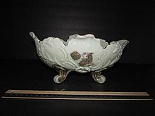 VINTAGE CUSTER GLASS CENTERPIECE BOWL FOOTED WITH GOLD GILT TRIM, 11 1/2