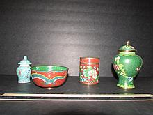 CLOISONNE JARS AND BOWL DARK GREEN GINGER JAR IS 5