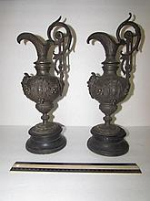 ANTIQUE METAL URNS (2) 16