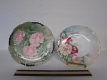 HAND PAINTED LIMOGES FLORAL DESIGN PLATES (2) ONE IN MARKED LIMOGE FRANCE 8 1/2