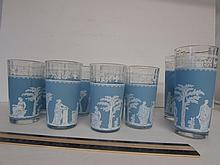 BLUE SATIN AND CLEAR GLASS TUMBLERS (9) GREEK DESIGN, SEVEN 5